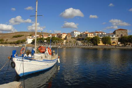 fishing boat in the harbor sigri