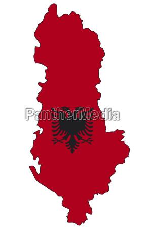 albanien flagge umriss
