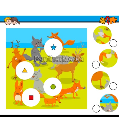match pieces puzzle with wild animals