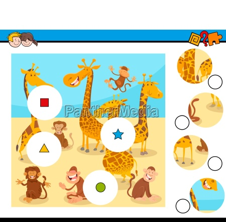 match pieces puzzle with monkeys and
