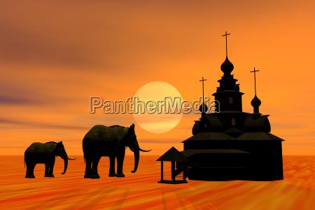 temple graphic animal sunset elephant animals