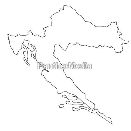 umriss karte von kroatien