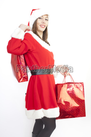 woman in christmas costume with presents