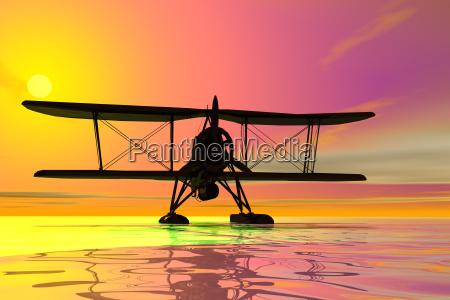 seaplane on landing silhouette 3d graphic