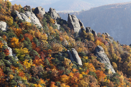 rocks and autumnal mixed forest over