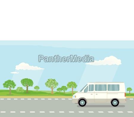 campingbus auf der landstrasse