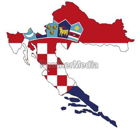 kroatien flagge umriss