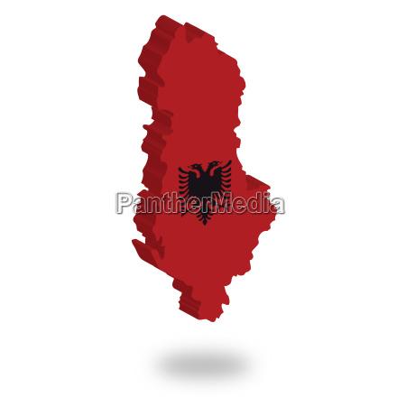 umriss und flagge von albanien