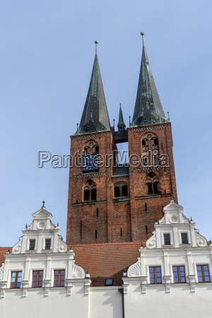 gothic church tower and gable of