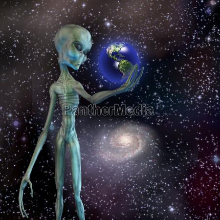 alien sein erwaegt die erde