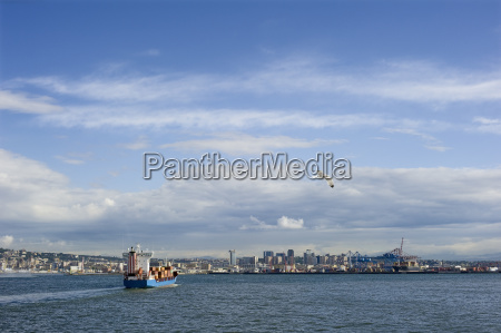 container ship enters the port of