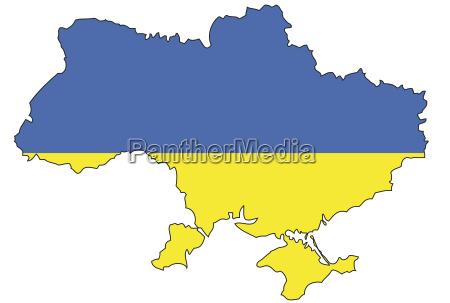 ukraine flagge umriss