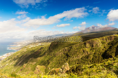beautiful tenerife mountain landscape on sunny