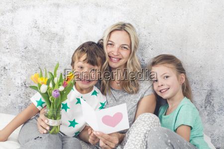 happy family children congratulate their