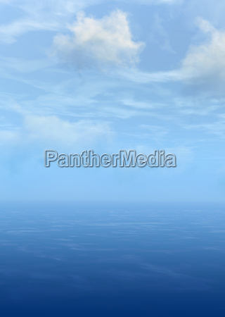 blue sky clouds and sea 3d