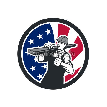american lumberyard worker usa flagge icon