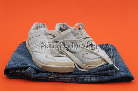 old sneakers and jeans