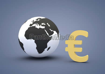 weltkugel zeigt euro zeichen symbolbild