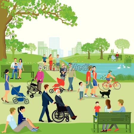 freizeit von familien im park illustration
