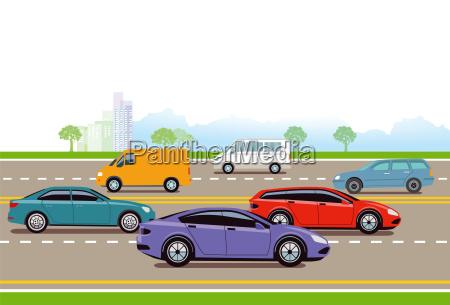 schnellstrasse in der grossstadt illustration