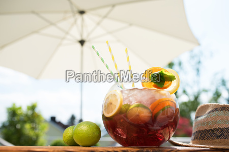 sangria punchbowl in summer