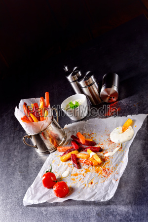 vegetable french fries with herb quark