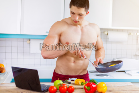 cooking young man eating vegetables recipe