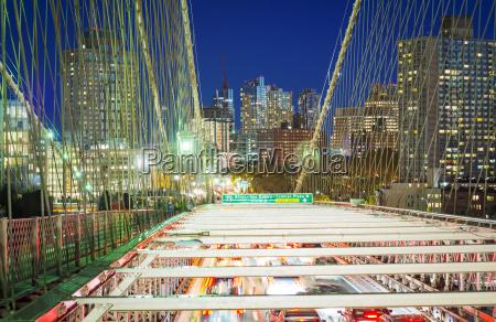 brooklyn bridge with car traffic at