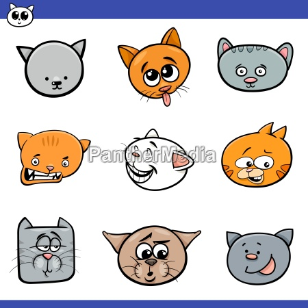cartoon cats and kittens icons set