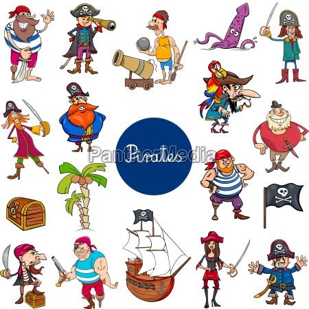 cartoon piraten fantasy zeichen gesetzt