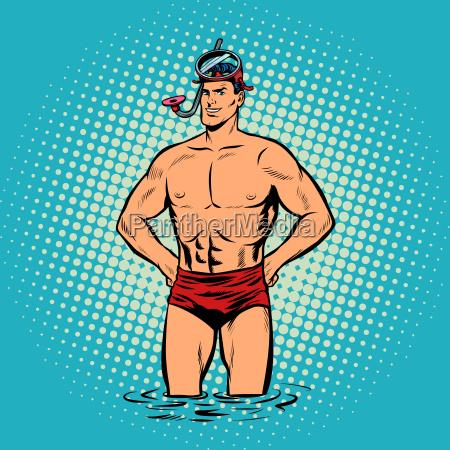 retro diver lifeguard male in swimming