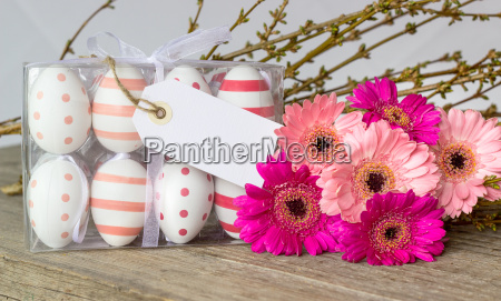 easter eggs with dots and stripes