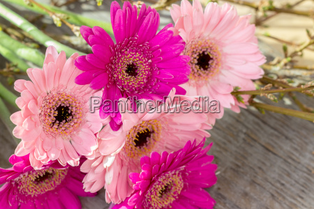 bouquet with pink gerbera and twigs
