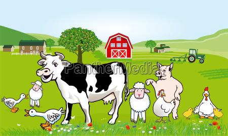 bauernhof tiere illustration lustige karikatur
