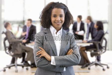portrait of businesswoman working in busy