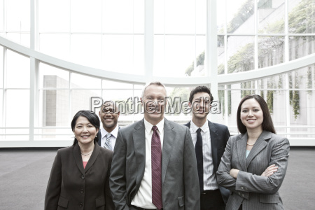 mixed race group of business people