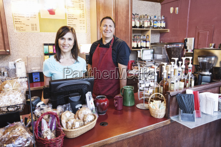 caucasian woman and man business owners