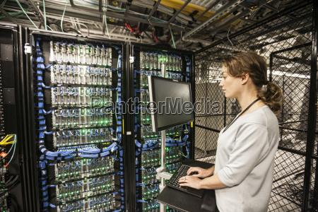 caucasian woman technician doing diagnostic tests
