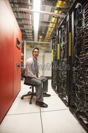 caucasian man technician working with computer