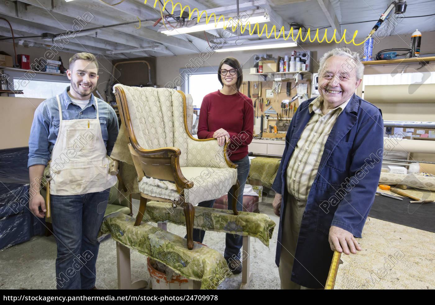 senior, caucasian, man, upholsterer, and, his - 24709978