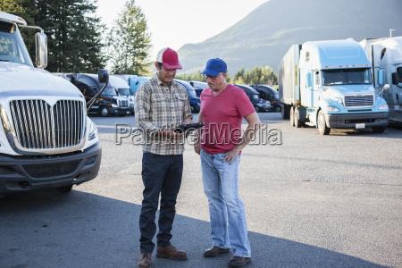 truck driver team of caucasian drivers