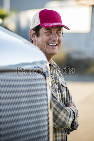 caucasian man truck driver with his