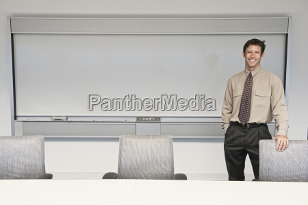 caucasian businessman in a conference room