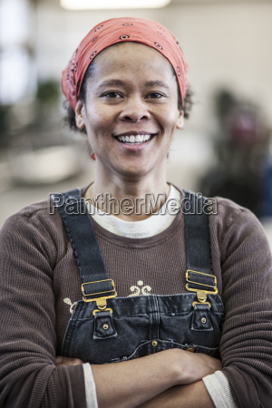 black woman factory worker in a