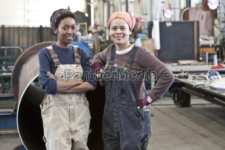 black women team of factory workers