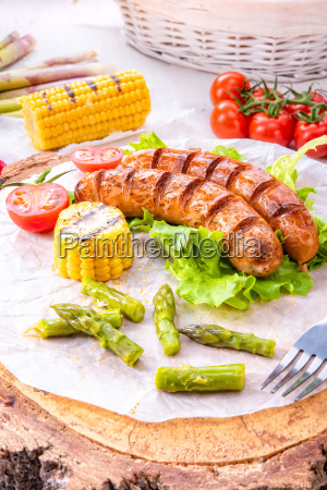 grilled krakauer sausage with boiled corn