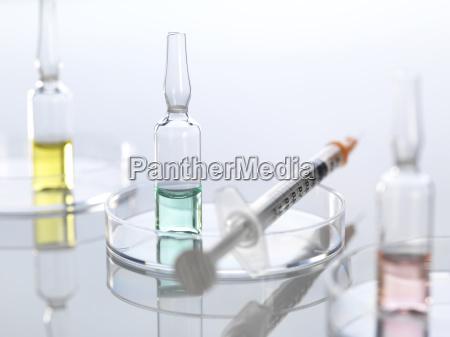 ampullae in petri dish syringe