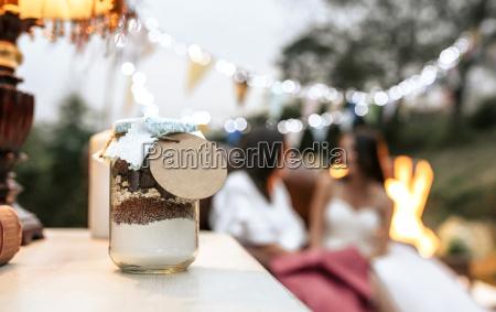 close up of wedding gift jar