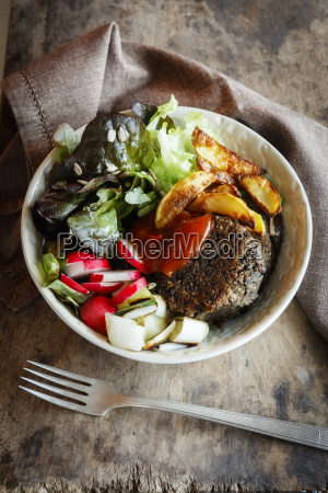 vegetarian bowl with salad mushroom lentil