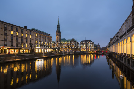 germany hamburg town hall and little